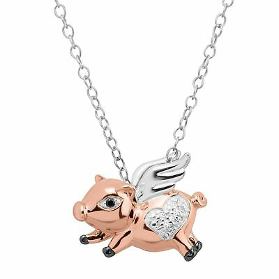 Flying Pig Pendant with Diamonds in Three-Tone Sterling Silver