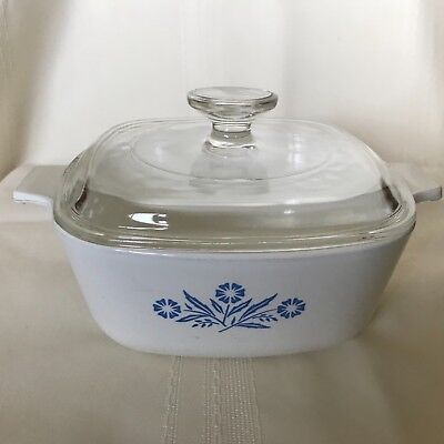 CORNING WARE Vintage Blue Cornflower 1.5 Qt CAsserole with Lid A-1 1/2 B