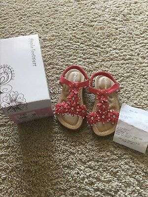 Girls Coral Diamonte Sandals Size 12 Brand New