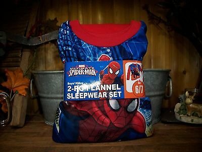 Marvel Spider Man Boys  2 Piece Flannel Sleepwear Size 6/7 Kids Comic Book Hero