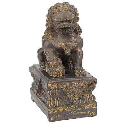 "9""H Tall Chinese Male Lion Foo Dog Bronze Statue"