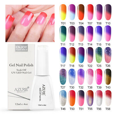 Azure 12ml Temperature Gel Mood Color Change Nail Polish Soak Off With Gift Box
