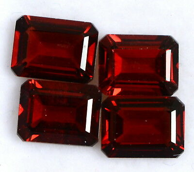 7.36 Cts Natural Red Octagon Cut 8x6 mm Lot 04 Pcs Red Shade Loose Gemstones