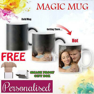 Personalised Magic Mug Heat Changing Cup Image Photo Logo Text Gift Surprise UK
