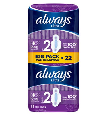 Always Ultra Long (Size 2) Sanitary Towels With Wings 22s, from £5.99