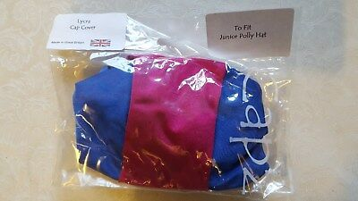 Junior Polly Riding hat CAPZ Lycra HatCover - Blue and Pink