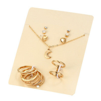 8pcs Rings 3Pairs Ear Stud Gold/Silver Pendant Necklace Set Wedding Jewelry Set