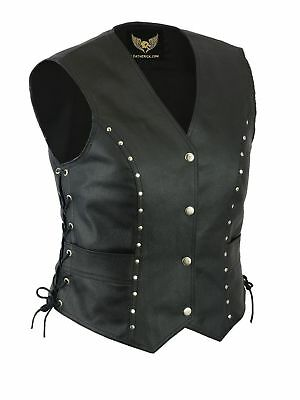 New Women Vintage Studded Biker real leather waistcoat vest Retro Laced Up Style