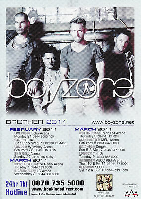 Boyzone 'BROTHER' 2011 UK Tour A5 Flyer - New