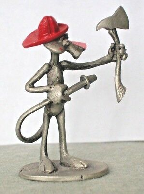 Vintage UAC Spoontiques Pink Panther Fireman. Enameled Pewter miniature1981 A51