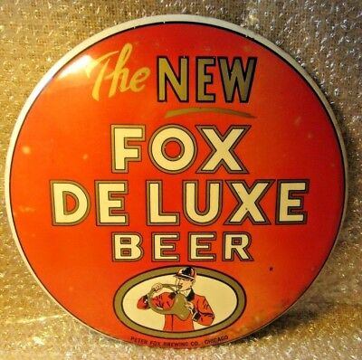 "Vintage Metal Advertising Sign Chicago ~ The New Fox Deluxe Beer 9"" Breweriana"