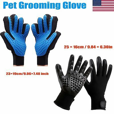 1 Pair Pet Grooming Gloves Brush Dog Cat Hair Remover Mitt Massage Deshedding US