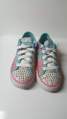 5bdab6a8ac60 SKECHERS Kids Shoes Girls Sz 12.5 Twinkle Toes Shuffles Glitter Dayz Light  Up