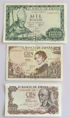 SPAIN ESPANA PAPER CURRENCY 6 NOTES VF-XF-See Description and Photos Nice!