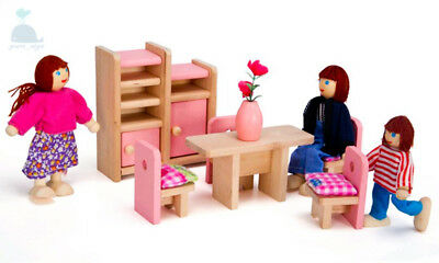 Class Pink Wooden Furniture Dolls House Dining Room Set Miniature No Dolls
