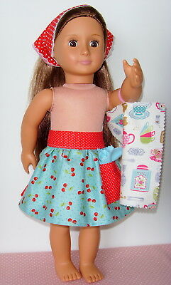 """Apron, Headscarf, Tea towel & Duster ~ for 18"""" Our Generation type Dolls Clothes"""