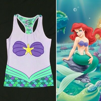 f834bc8c4f37c NWT Disney Ariel Little Mermaid Racer back Tank Top Illusion Shell Top  Medium