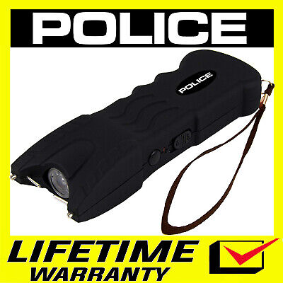 POLICE Black 916 58 Billion Stun Gun LED Flashlight Rechargeable and Safety Pin