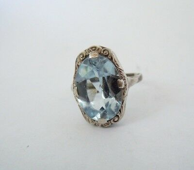 Imperial Russia 84 Silver Ring with Aquamarine FABERGE design