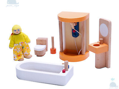 Latest 2018 Wooden Furniture Dolls House Shower & Bathroom Set Miniature No Doll