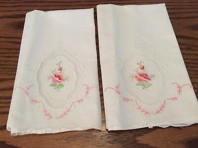 Vintage Embroidered Tea Towels, Lot Of Two