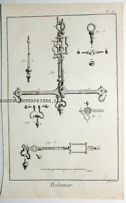 "1773 Diderot Engraving ""balancier"" Large Size 14 3/4 X 8 1/4 In"