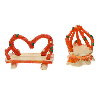 Set of 2 Chair Fairy Garden Figurine Crafts Micro Landscape Decor DIY Gift