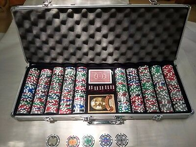 500 PC POKER CHIP SET*DICE*JACK DANIELS PLAYING CARD IN CASE.Very Nice Condition
