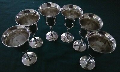 Set Of 6 Victorian Champagne Cups / Sundae Cups - Silver Plated - Made In India