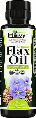 Organic Flax Oil (24 FL OZ) Cold Pressed Flaxseed Oil Liquid Vegetarian Omega-3