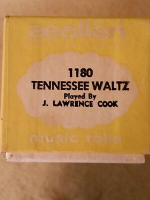 Aeolian Player Piano Roll Tennessee Waltz #1180 Played by J Lawrence Cook