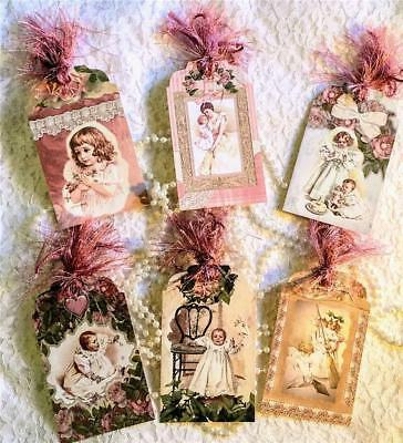 Set of 6 Hang Tags~Vintage Happy Birthday Girls~Gift Tags~Scrapbook~Cards~#26R