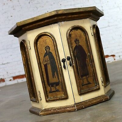 Vintage Hand Painted Octagon Drum Side Table Cabinet Attributed Arte De Mexico