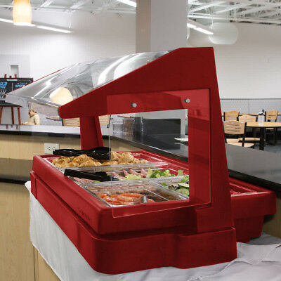 4' RED Plastic Cambro NSF Restaurant Buffet / Salad Bar with Sneeze Guard, USA