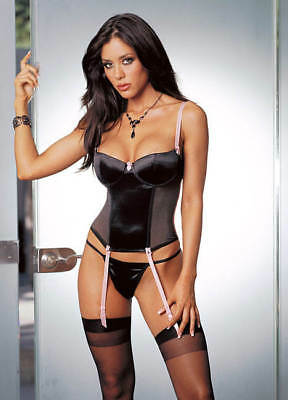 Garter Belts Dreamgirl Sexy Suspender Garter Slip 10489 Stretch Satin Low Plunge Halterneck