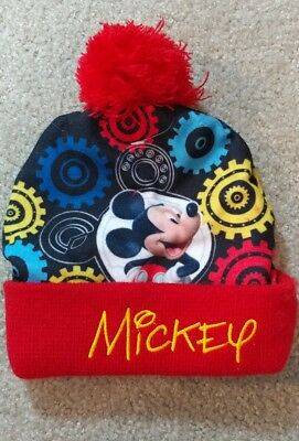 3798e2192 MICKEY MOUSE HAT Disney Knit Cold Weather Winter Hat With Pompom NEW MICKEY