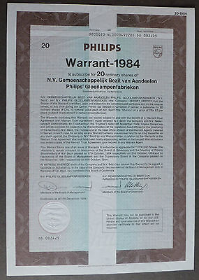 Philips Warrant 1984 Optionsschein für 20 Aktien Gloilampenfabriken