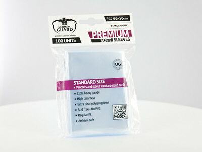 100 pochettes Premium Soft Sleeves taille standard Transparent Ultimate Guard