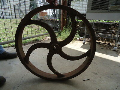 Gorgeous Large Heavy Vintage Industrial Chaff Cutter Fly Wheel