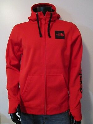 NWT Mens TNF The North Face Surgent FZ Hoodie Fleece Lined Sweatshirt Red Black