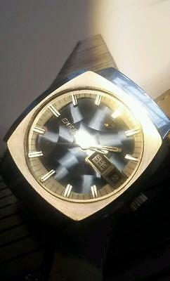 Vintage rare Mystery Blue Dial 27 Jewels Enicar Automatic Men´s Watch 70s