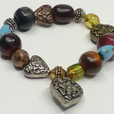 A23) Copper, Brass, & Antique-Silver Tone Hearts w/ Glass & Crystal Bracelet