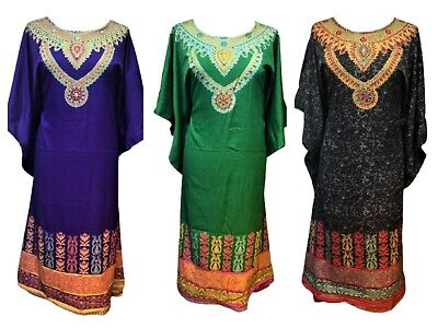 Sheer Material Kaftan Tunic Beach cover up  Free Size Fits 14,16,18,20,22,24,