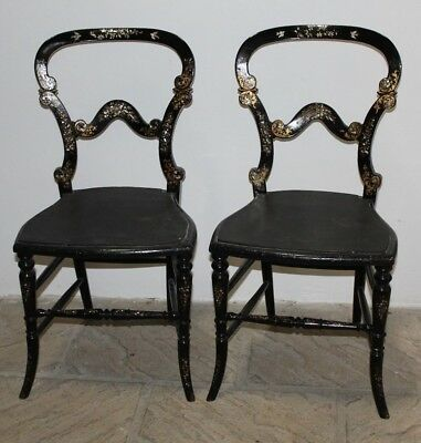 Antique PAIR of Ebonised Laquer Chairs with Mother of Pearl Birds Inlay
