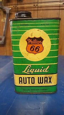 Vintage oil can PHILLIPS 66 LIQUID AUTO WAX 16 OZ. GREEN STRIPED CAN