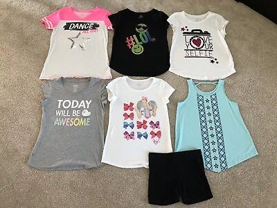 Girls JUSTICE Summer Clothes Lot of 7 Shirts Shorts Tank Top Size 20