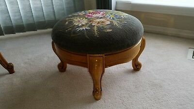 Antique Solid Wood Frame Needlepoint Round Floral Foot Stool