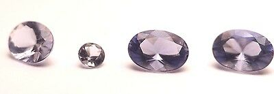 Natural Blue Lolite Gemstones Lot Of 4 Faceted Cut Claw Setting Oval Free Post