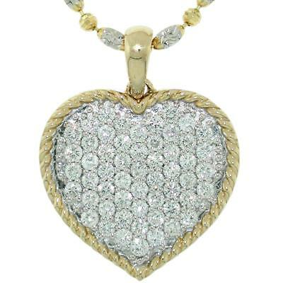 1.46 TCW Round Cut Diamonds Heart Pendant Necklace In Solid 14k Two-Tone Gold