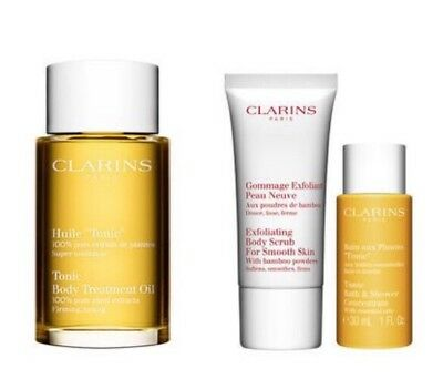 Clarins At-Home Pampering Body Kit: Tonic Treatment Oil, Body Scrub. Free Gift!